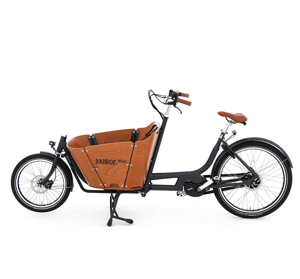 Babboe Mini Mountain Cargo Bike - With Yamaha Electric Assist Motor Steel Frame And Wooden Marine-Grade Cargo Box