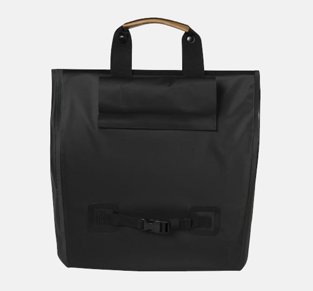 Back of Basil Urban Dry Shopper in Black with Hooks Covered