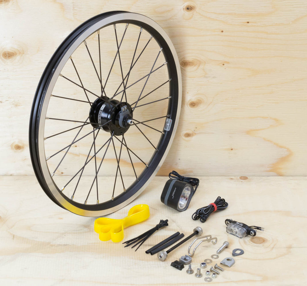 Brompton Dynamo Lighting System - SP Dynamo SV8, Brompton Rim, Spanninga and B&M Lights