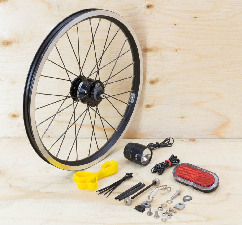 Brompton Dynamo Lighting System - Black SP Dynamo SV8, Brompton Rim, B&M & Spanninga Lights