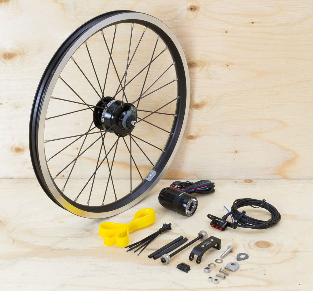 Brompton Dynamo Lighting System - Black SP Dynamo SV8, Brompton Rim, Supernova Lights