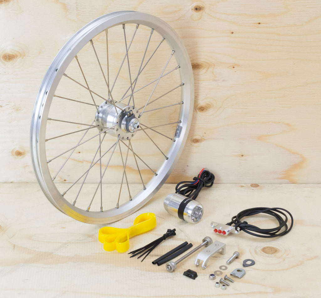 Brompton Dynamo Lighting System - Silver SP Dynamo SV8, Brompton Rim, Supernova Lights