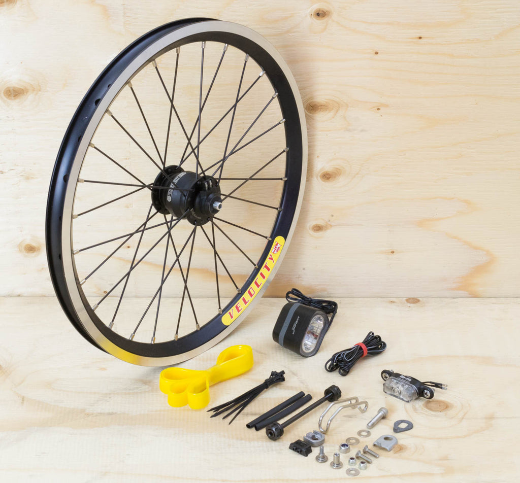 Brompton Dynamo Lighting System - Black SP Dynamo SV9, Velocity Rim, Spanninga & B&M Lights