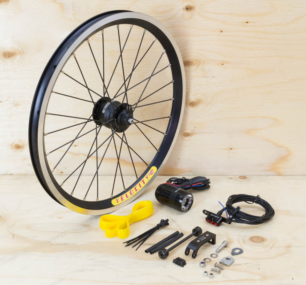 Brompton Dynamo Lighting System - Black SP Dynamo SV9, Velocity Rim, Supernova Lights