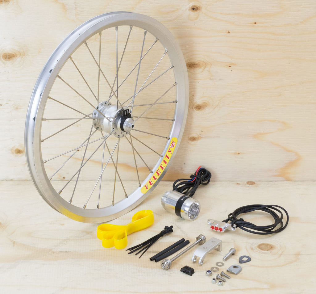Brompton Dynamo Lighting System - Silver SP Dynamo SV9, Velocity Rim, Supernova Lights