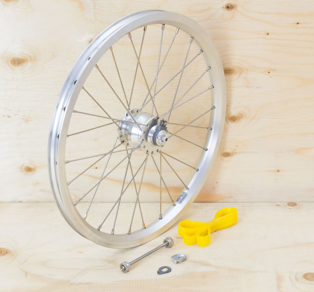 Brompton Dynamo Front Wheel Kit - SP SV-8 on Brompton Rim in Silver