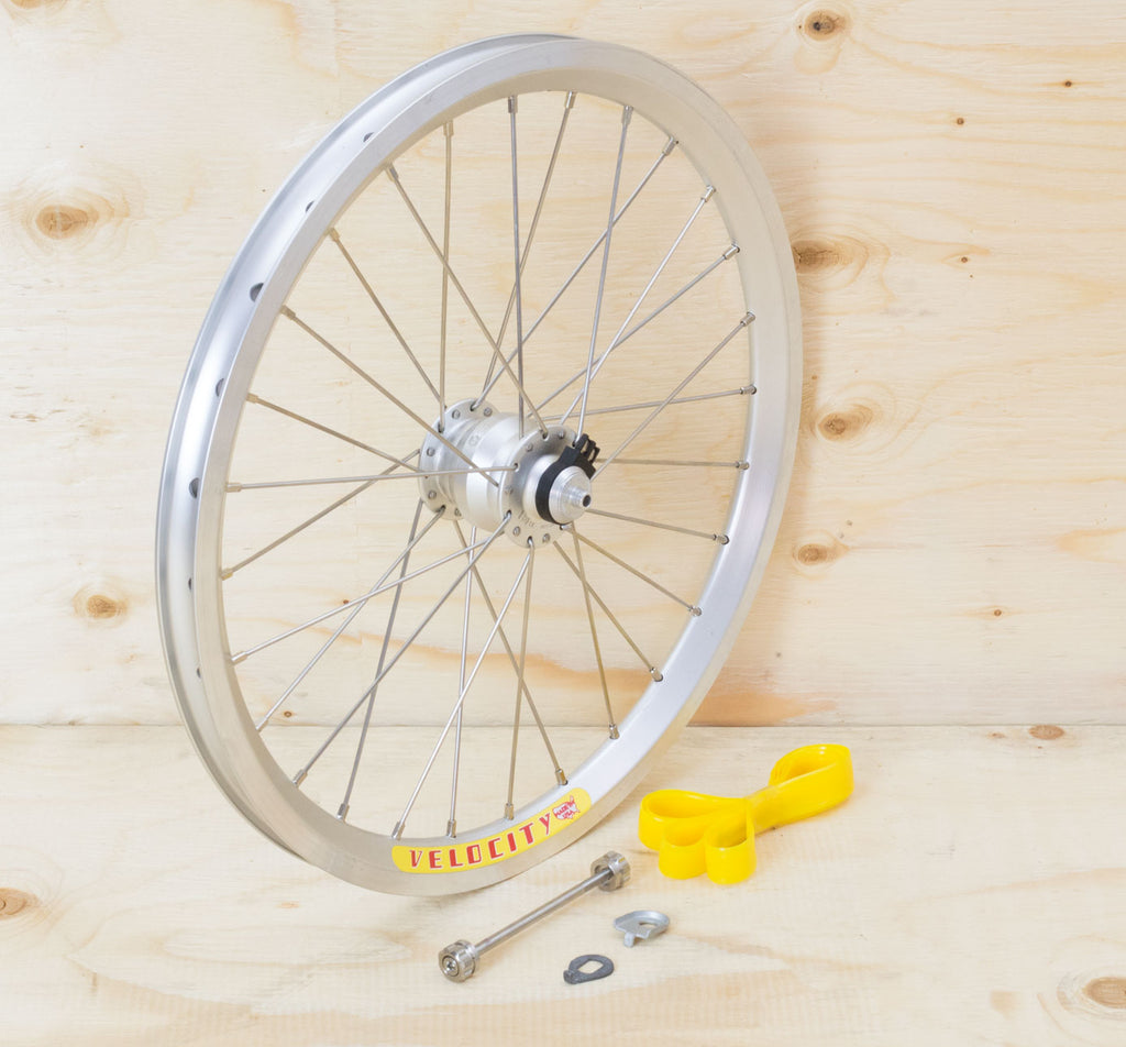 Brompton Dynamo Front Wheel Kit - SP SV-9 on Velocity Rim in Silver