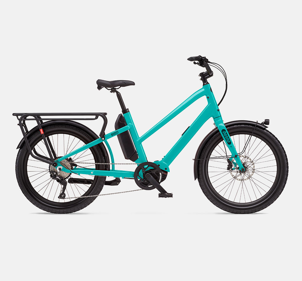Benno Boost E Step-Through Longtail Cargo E-Bike - Aqua Green