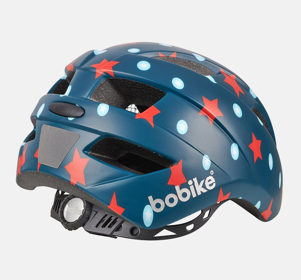 Rear of Bobike Kids Plus Helmet - Small (S) - Navy Stars