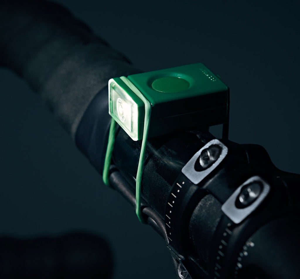 Bookman Block Front Light in Green on Bike
