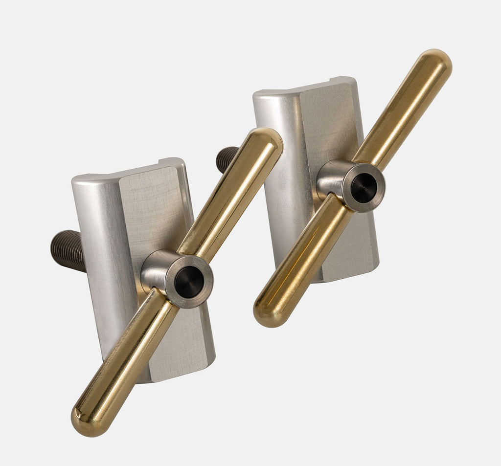 Brompfication Hinge Clamp Set with Clear Titanium Plates and Brass Levers