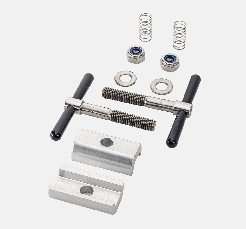 Brompfication Hinge Clamp Set with Clear Titanium Plates and Black Levers