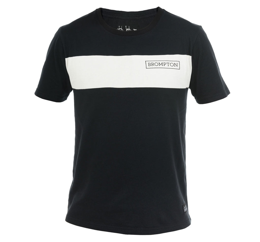 Brompton Bikes Logo T-Shirt Black with White Stripe