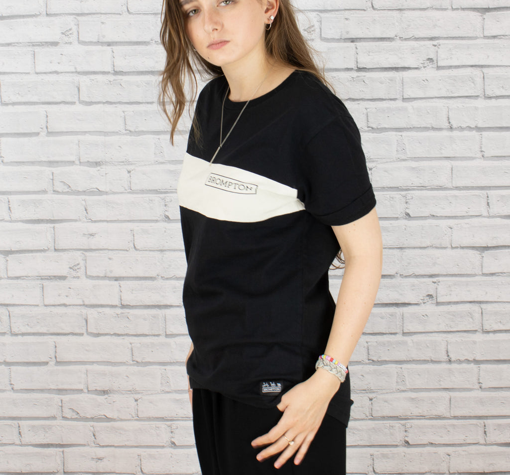 Brompton Logo Series T-Shirt in Black Shown On a Woman