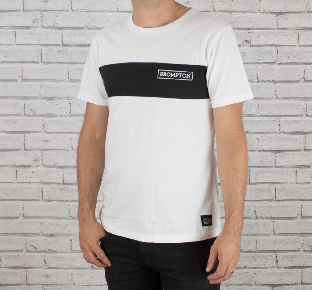 Brompton Logo Series T-Shirt in White Shown On a Man
