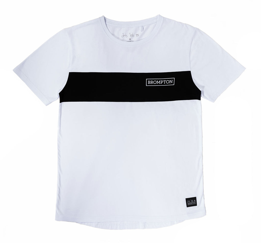 Brompton Bicycles Logo Series T-Shirt in White with Black Stripe