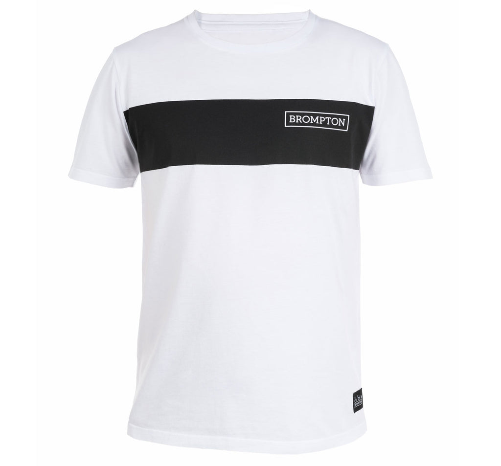Brompton Bikes Logo T-Shirt White with Black Stripe