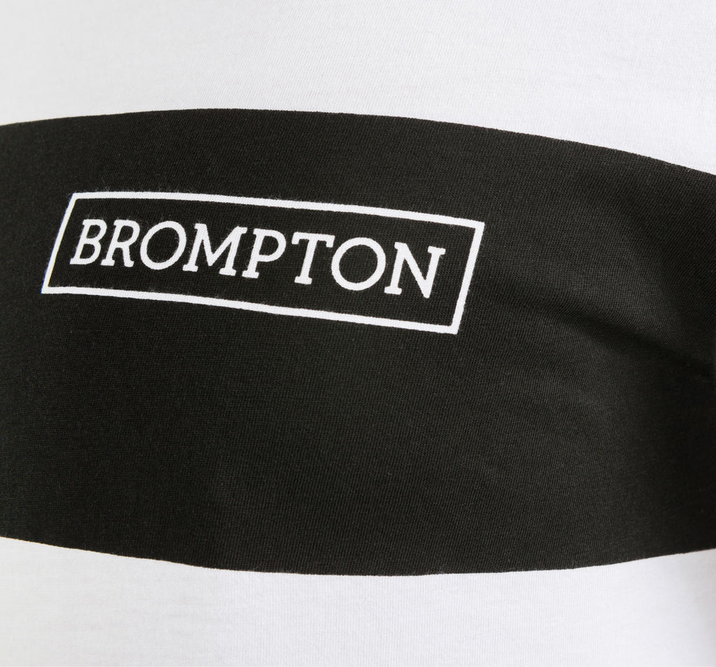 Brompton Logo Series T-Shirt Chest Detail in White with Black Stripe
