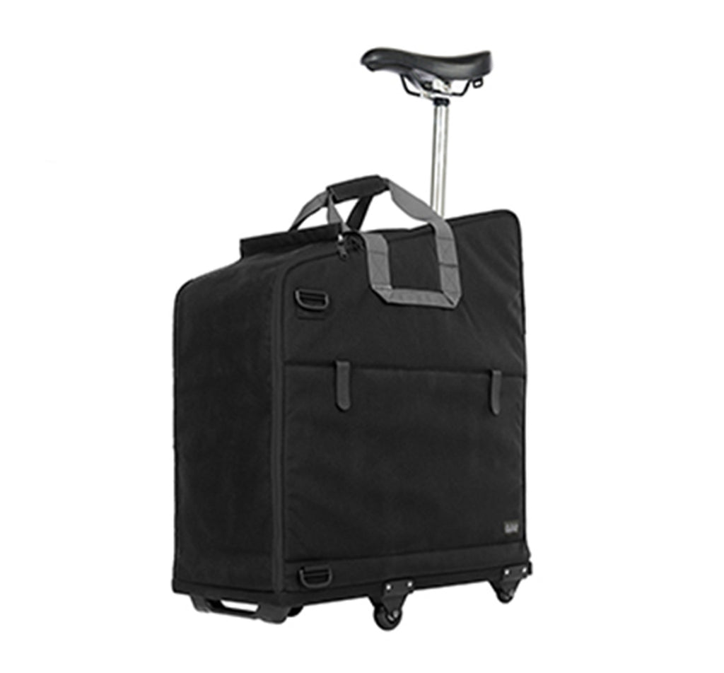 Brompton Padded Travel Bag with 4 Rollers Shown in Transport Position