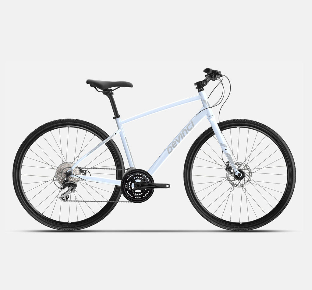 Devinci Milano Acera Disc Hybrid Bike in White Mist - 2021