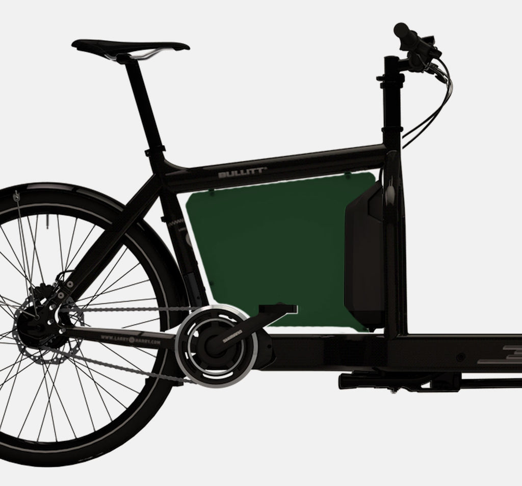LARRY VS HARRY BILLBOARD FOR SHIMANO STEPS E-BULLITT CARGO BIKE IN RACE GREEN