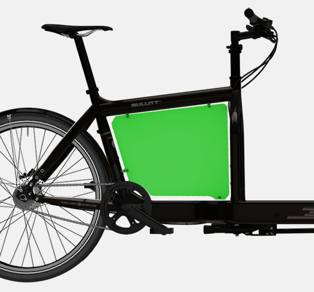 LARRY VS HARRY BILLBOARD FOR STANDARD BULLITT CARGO BIKE IN LIZARDKING GREEN