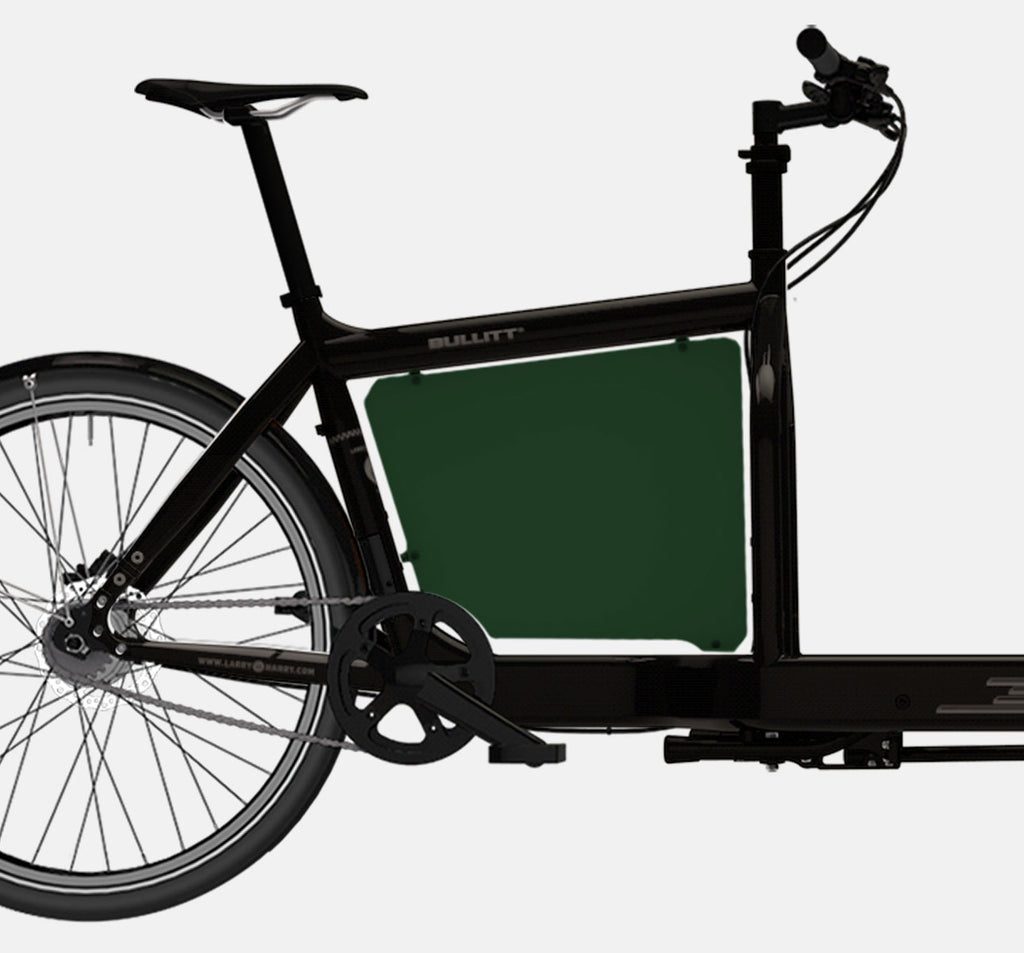 LARRY VS HARRY BILLBOARD FOR STANDARD BULLITT CARGO BIKE IN RACE GREEN