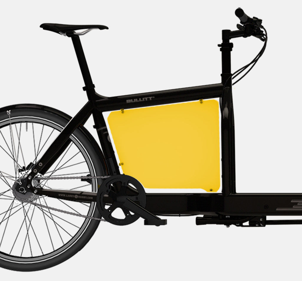 LARRY VS HARRY BILLBOARD FOR STANDARD BULLITT CARGO BIKE IN SUBMARINE YELLOW