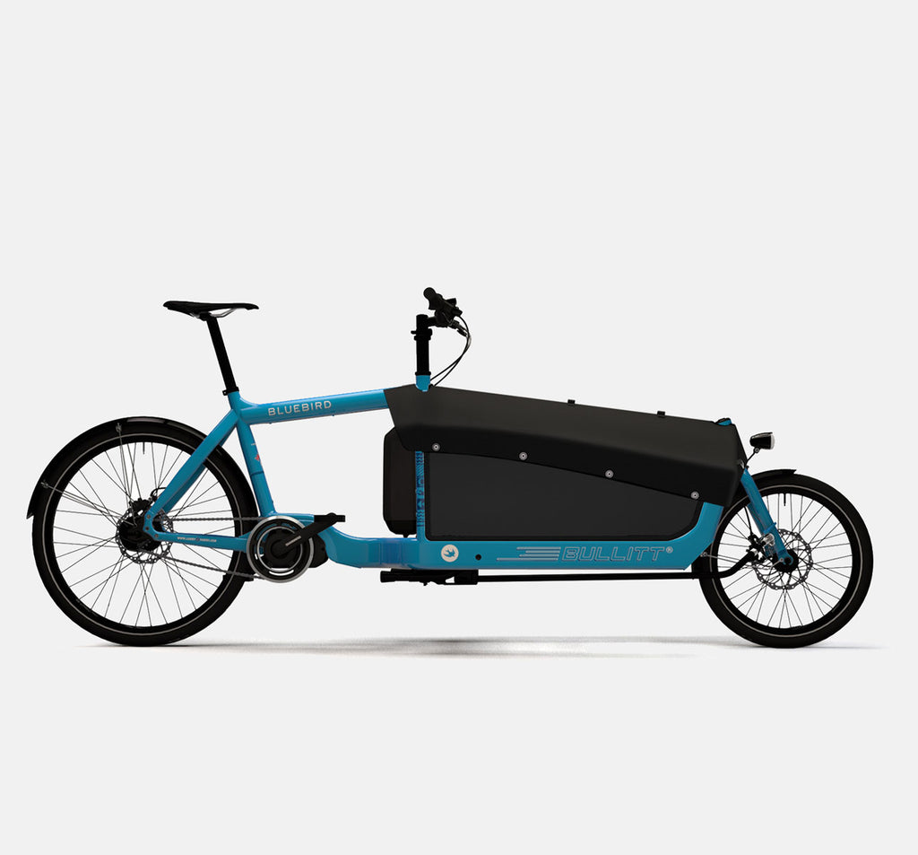LARRY VS HARRY BULLITT SHIMANO STEPS E6000 CARGO BIKE WITH CARGO PACK IN BLUEBIRD BLUE