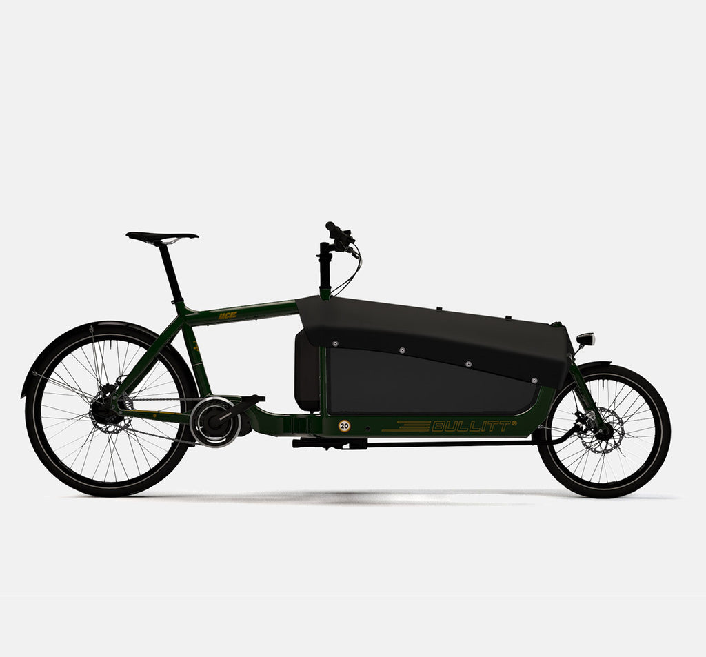 LARRY VS HARRY BULLITT SHIMANO STEPS E6000 CARGO BIKE WITH CARGO PACK IN RACE GREEN