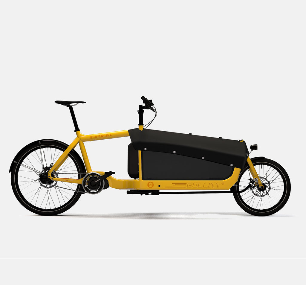 LARRY VS HARRY BULLITT SHIMANO STEPS E6000 CARGO BIKE WITH CARGO PACK IN SUBMARINE YELLOW