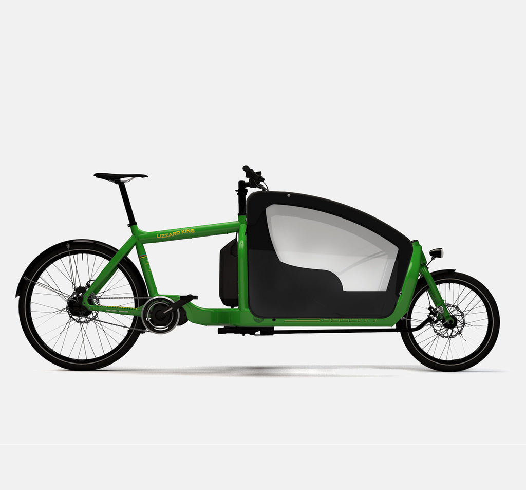 LARRY VS HARRY BULLITT SHIMANO STEPS E6000 CARGO BIKE WITH KIDS PACK IN LIZARDKNG GREEN