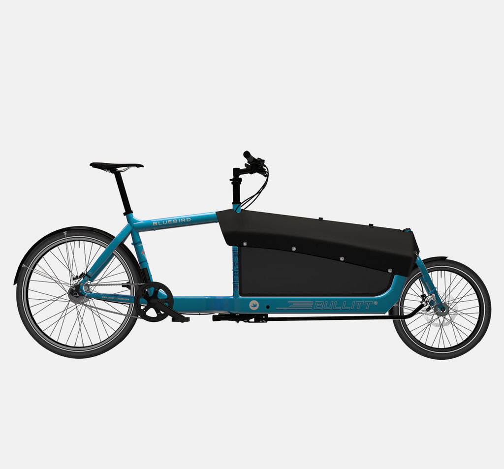 LARRY VS HARRY BULLITT CARGO BIKE WITH CARGO PACK IN BLUEBIRD BLUE WITH SHIMANO NEXUS 7 DRIVETRAIN