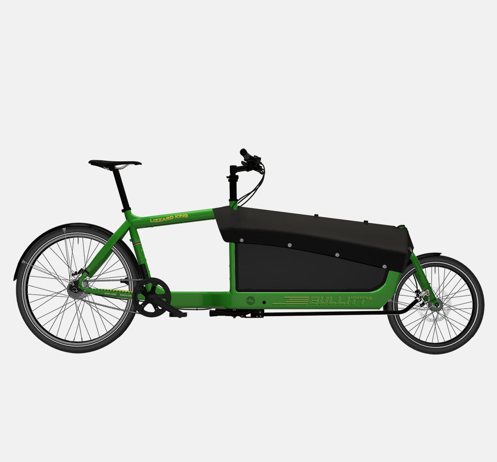 LARRY VS HARRY BULLITT CARGO BIKE WITH CARGO PACK IN LIZARDKING GREEN WITH SHIMANO NEXUS 7 DRIVETRAIN