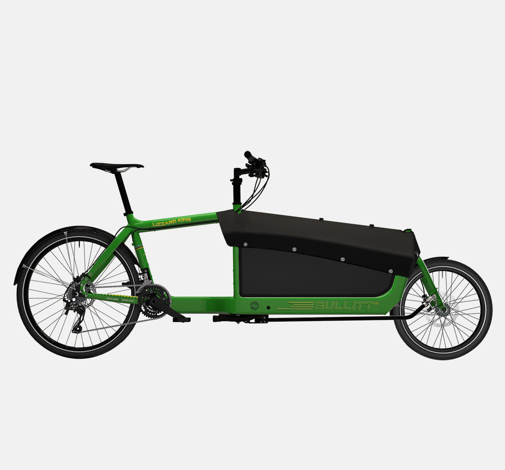 LARRY VS HARRY BULLITT CARGO BIKE WITH CARGO PACK IN LIZARDKING GREEN WITH SHIMANO XT 22 DRIVETRAIN