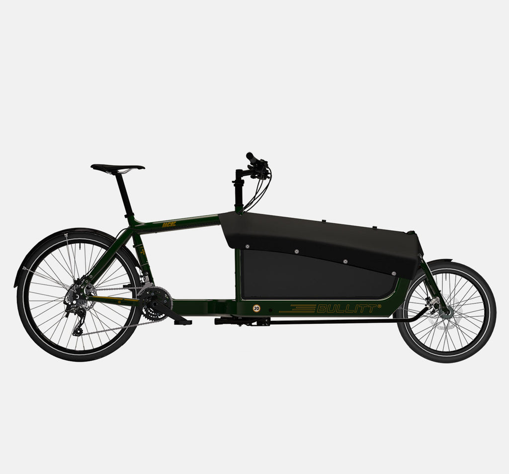 LARRY VS HARRY BULLITT CARGO BIKE WITH CARGO PACK IN RACE GREEN WITH SHIMANO XT 22 DRIVETRAIN