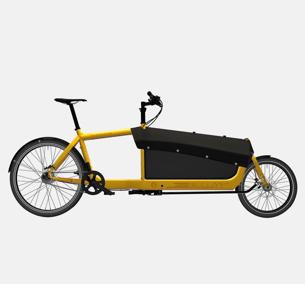 LARRY VS HARRY BULLITT CARGO BIKE WITH CARGO PACK IN SUBMARINE YELLOW WITH SHIMANO NEXUS 7 DRIVETRAIN