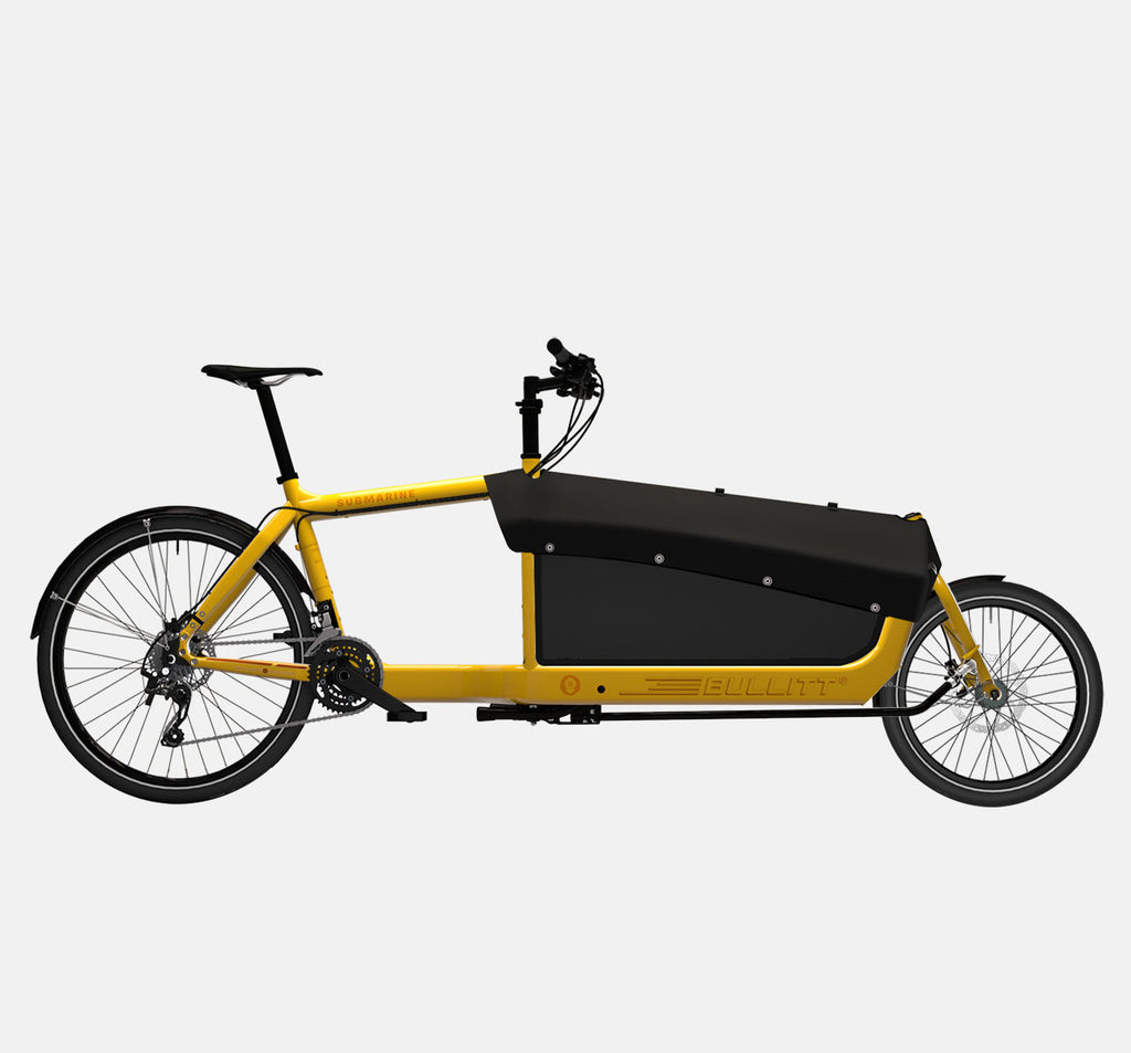 LARRY VS HARRY BULLITT CARGO BIKE WITH CARGO PACK IN SUBMARINE YELLOW WITH SHIMANO XT 22 DRIVETRAIN