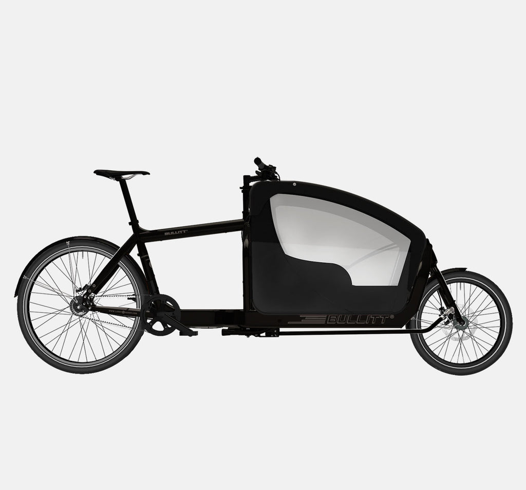 LARRY VS HARRY BULLITT CARGO BIKE WITH KIDS PACK IN CLASSIC BLACK WITH SHIMANO ALFINE 8 SPEED PLUS GATES DRIVETRAIN