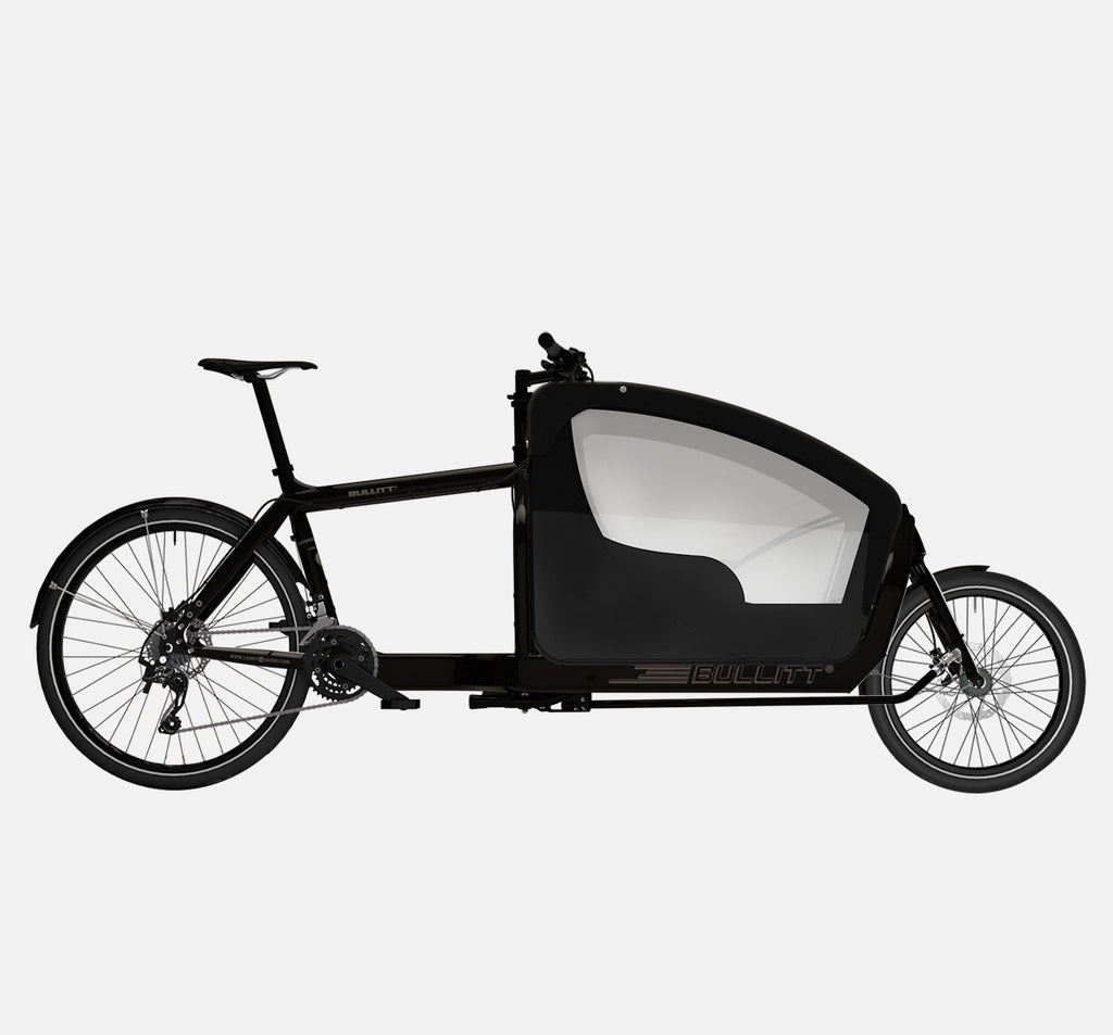 LARRY VS HARRY BULLITT CARGO BIKE WITH KIDS PACK IN CLASSIC BLACK WITH SHIMANO XT 22 SPEED DRIVETRAIN