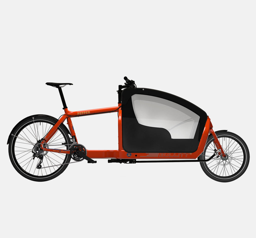 LARRY VS HARRY BULLITT CARGO BIKE WITH KIDS PACK IN PEPPER RED WITH DEORE 20 SPEED DRIVETRAIN