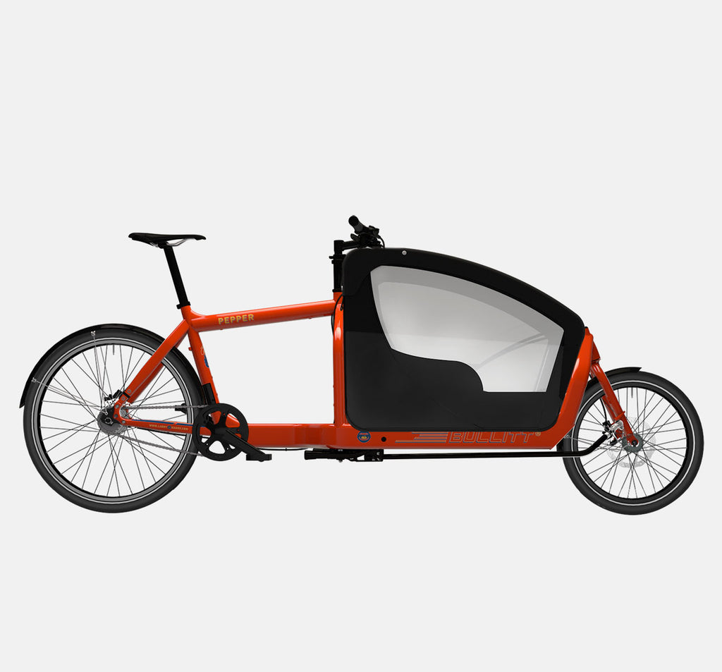 LARRY VS HARRY BULLITT CARGO BIKE WITH KIDS PACK IN PEPPER RED WITH SHIMANO ALFINE 8 SPEED DRIVETRAIN