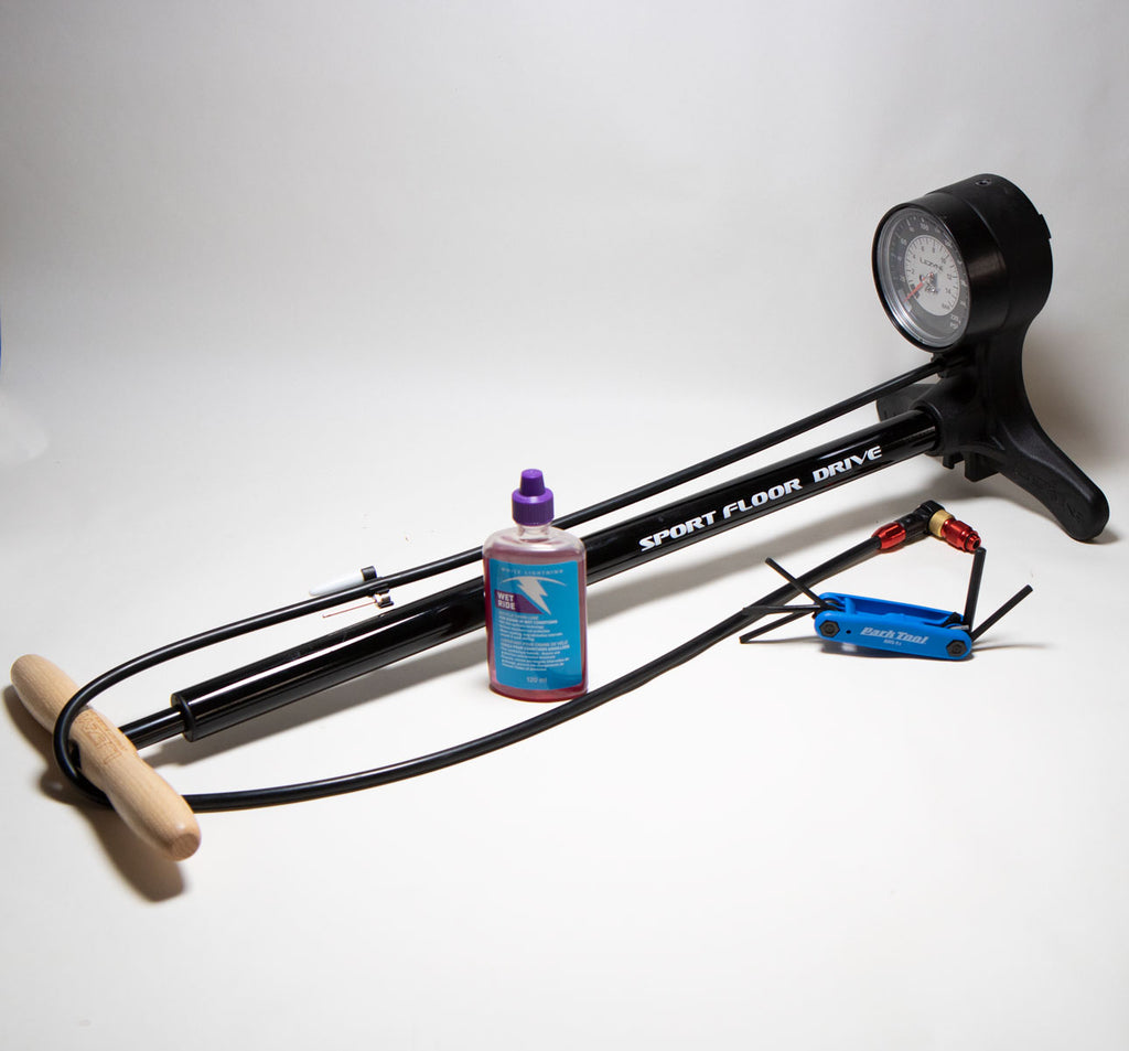 Maintenance Bundle with Floor Pump, Chain Lube and Multi-tool