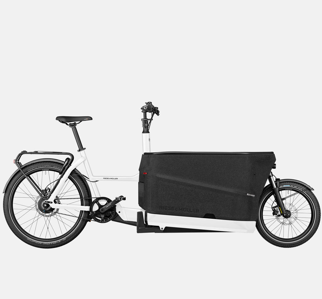 Riese & Muller Packster 70 Suspension Cargo E-Bike with Schwalbe SuperMoto-X Tires in White