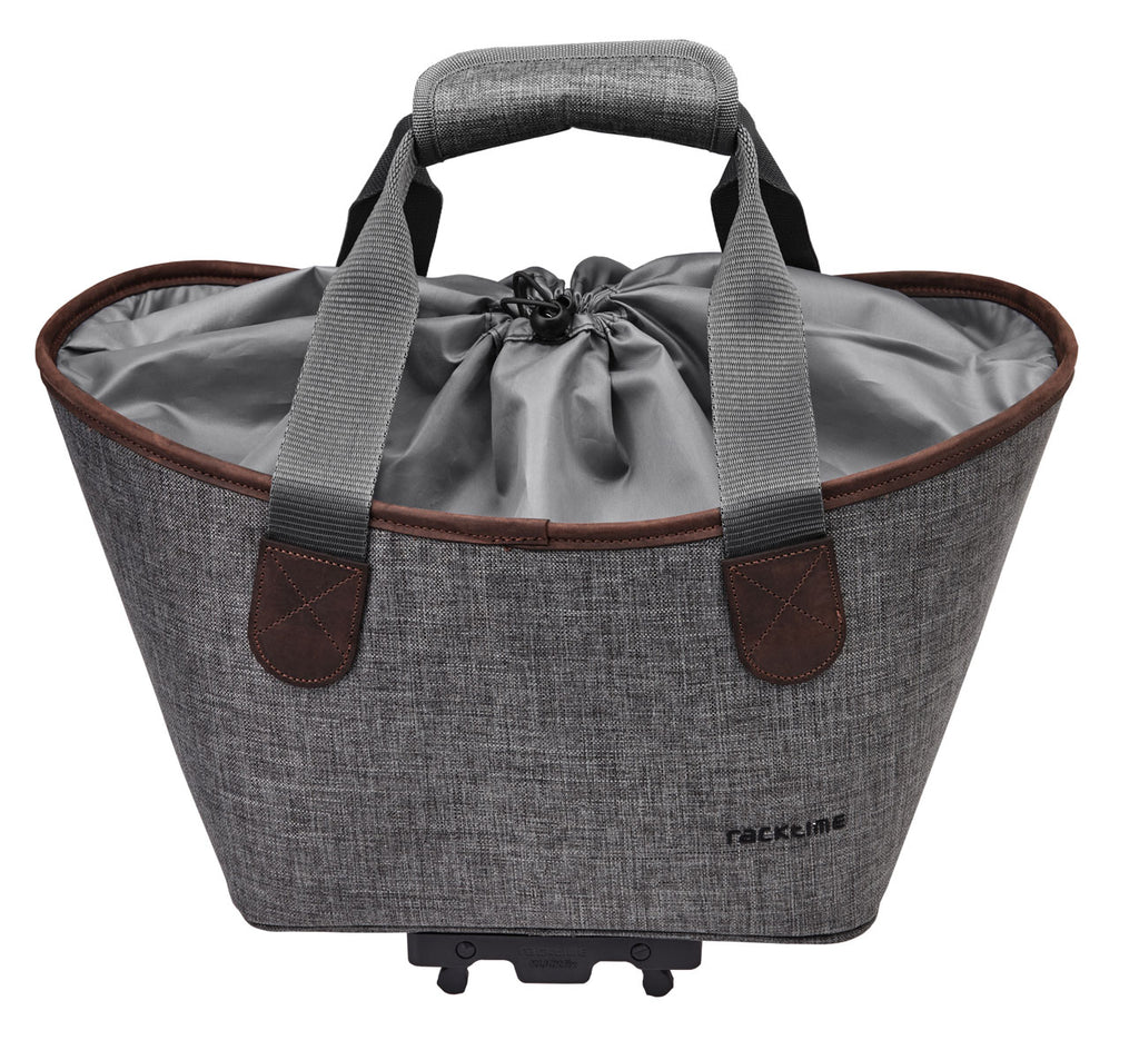 Racktime Agentha Bicycle Pannier Tote in Dust Grey Shown Closed