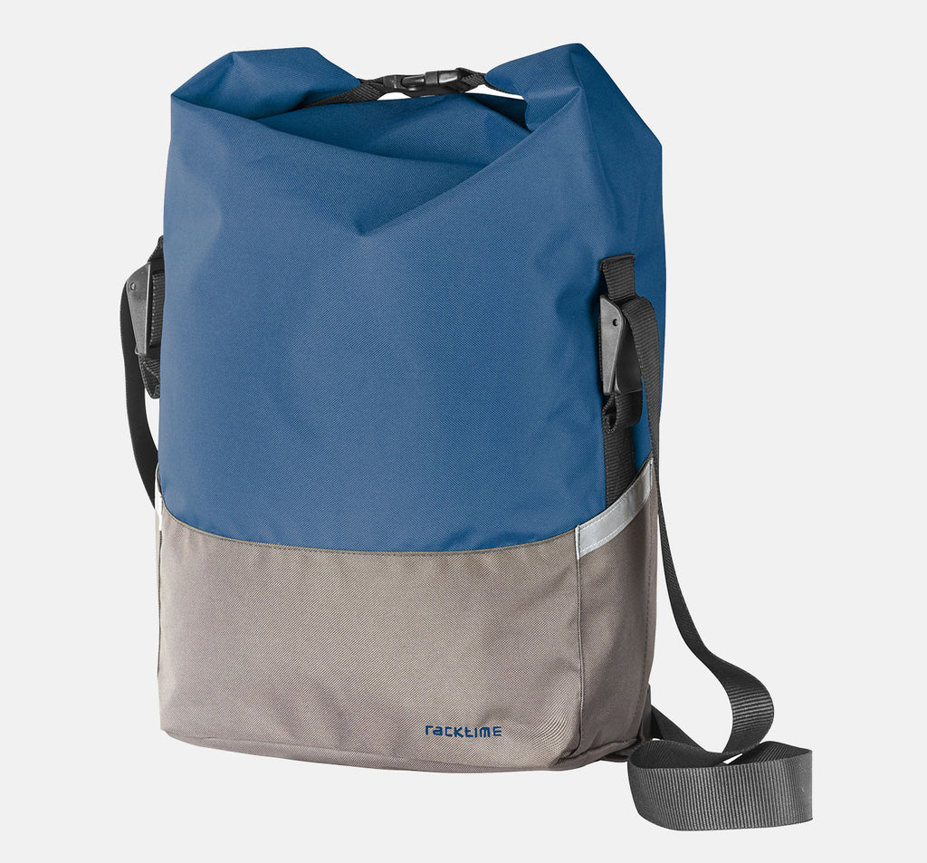Racktime Liva Pannier Bag In Blue Grey Colour - Cycling Bag For Commuting With Shoulder Strap For Easy Transport