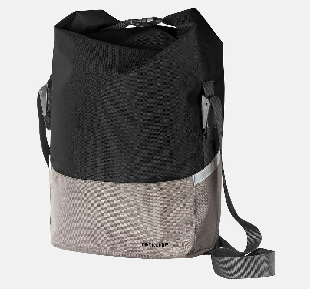 Racktime Liva Pannier Bag In Carbon Black Grey Colour - Well-Made Functional Bike Bag With Reflective Strips and Shoulder Strap