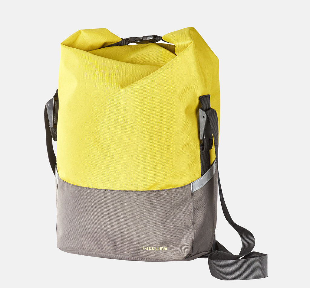 Racktime Liva Pannier Bag In Lime Green Yellow Grey Colour - Rolltop Bag Great For Urban Cycling With Strong Versatile Shoulder Strap