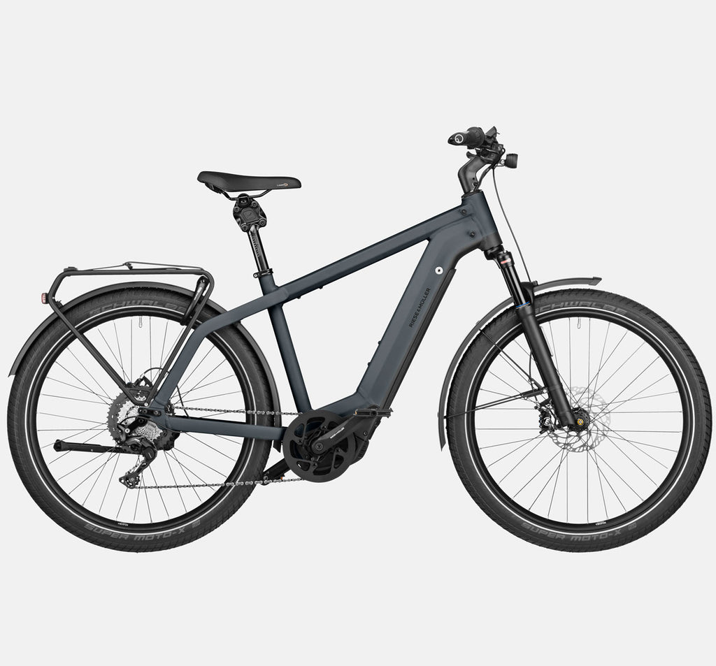 Riese & Muller Charger3 GT Touring E-Bike with Schwalbe Super Moto-X Tires and Thudbuster Seatpost in Storm Blue Matte