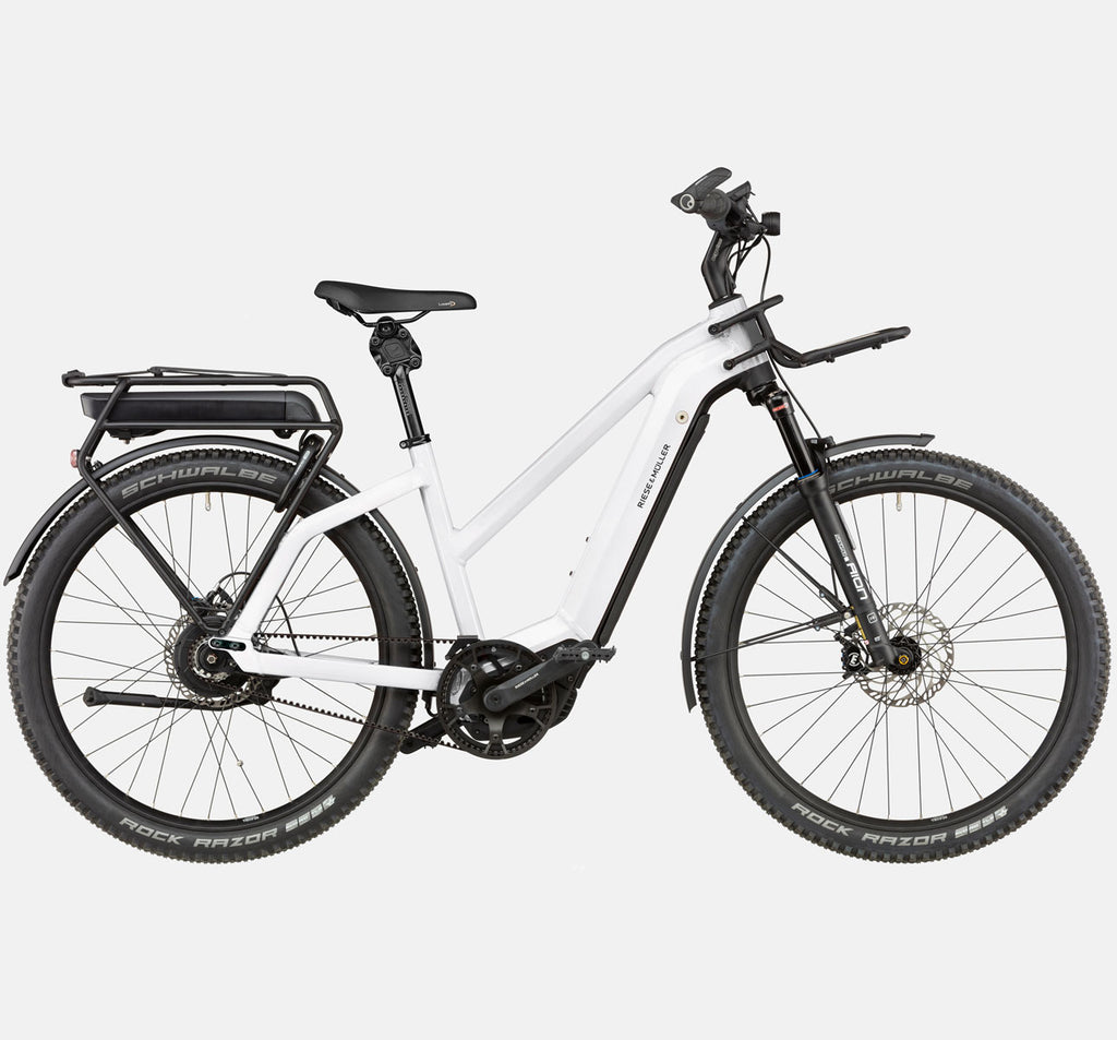Riese & Muller Charger3 Mixte Vario E-Bike with DualBattery 1125Wh, Schwalbe Rock Razor Tires, Thudbuster Seatpost, and Front Carrier in Ceramic White (GX Option)